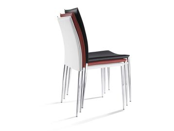 BRAND NEW at second-hand prices! Stacking Cafe/Meeting chairs in 2 x leather colours with cream stitching.