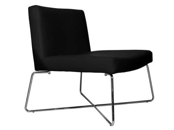 Brand New Contemporary black faux leather chair with chrome rod frame.