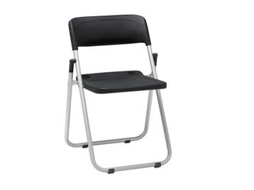 Brand New folding chairs with black plastic back/seat and robust folding aluminium frame. SOLD IN BOXES OF FOUR ONLY