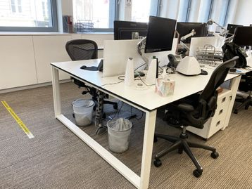 2 x 2-person back-to-back white 'Techo' bench desks with goalpost legs (4 x desk positions)
