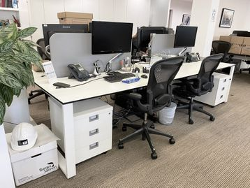 2 x 4-person back-to-back white 'Techo' bench desks with goalpost legs (8 x desk positions)