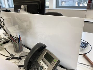 White plastic desk dividing screens