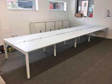 1400mm Dynamobel White Office Bench Desks