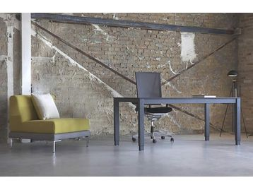 Brand New Electric 4-Leg Executive Desk in black finish. Less IS more!