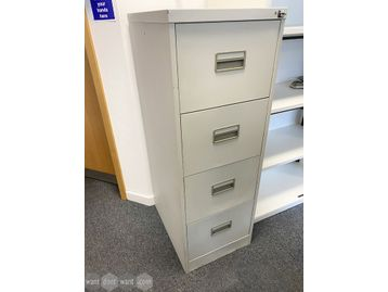 Used unbranded 4-drawer grey filing cabinets.