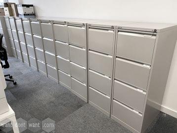 Used Bisley 4-drawer light grey filing cabinets.