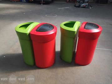 Used 'Glasdon' 110L Recycling Bins in Green & Red.