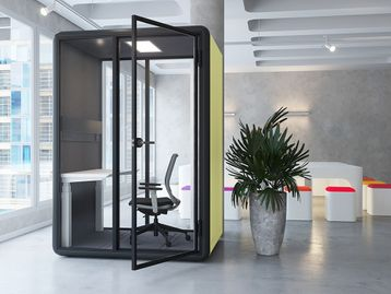 A self-contained individual work space booth.