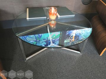 Used contemporary design glass coffee table