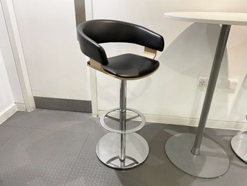 Used 'Allermuir' stools with black leather seat and back