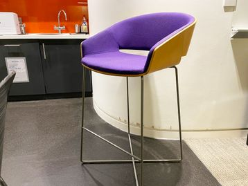 Used Boss 'Halo' stools with beech veneer shell, upholstered seat and chrome rod frame.