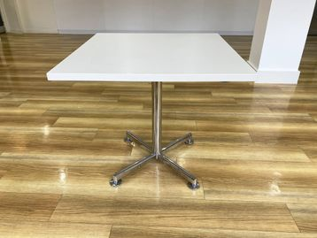Used White Folding Cafe Tables with chrome column and base.