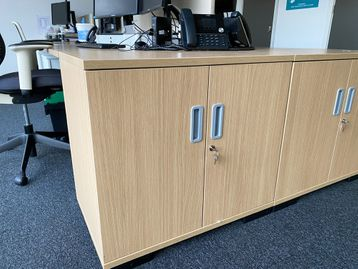 Used Oak double door storage units with single shelf