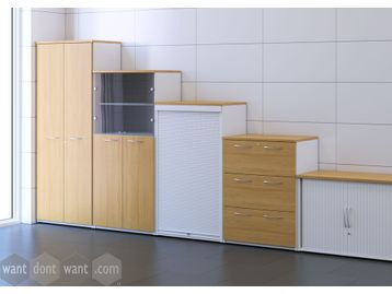 Tall double door storage cupboard quoted with 4no. adjustable shelves
