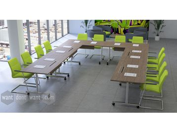 Brand New Flip-Up training tables in a variety of finishes.