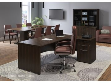High quality brand new executive L-shaped desk with desk height pedestal
