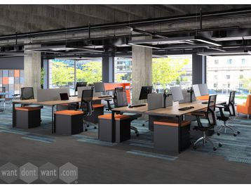 Brand New 4-person bench desks with desk dividing screens