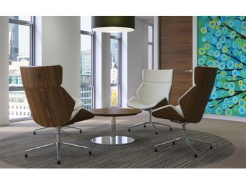 Veneered Timber Shell Chairs Upholstered in Real Leather