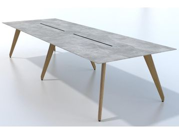 Brand new meeting/boardroom tables. This table 3500mm x 1200mm with an MFC concrete Top and natural oak mfc legs