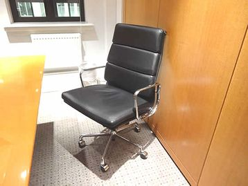 Charles Eames EA219 high-back 'Soft Pad' chairs manufactured by ICF. Black leather with chrome frame - beautiful!