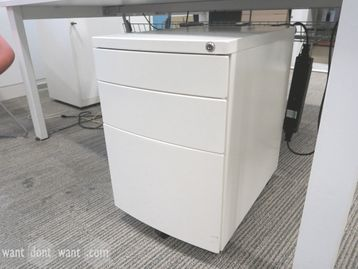 White under-desk 3-drawer metal mobile pedestals
