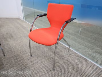 Used Orangebox X10 Visitor chairs upholstered in bright vibrant fabric