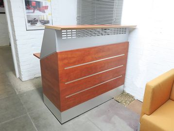 Ex- Display contemporary compact reception desk with contrasting steel frame and cherry panelling