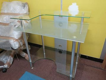 Glass computer desk with 3rd level shelf