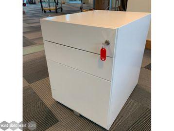 Used 3-Drawer White Under Desk Pedestals