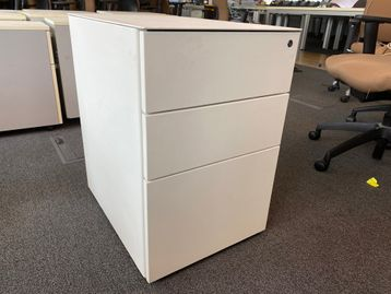 Used modern white steel pedestals with 2 x shallow and 1 x filing drawer