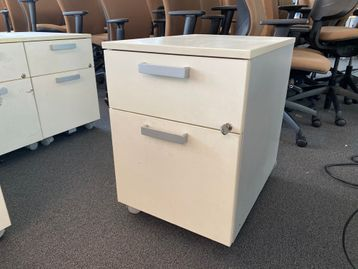 Used 2-drawer mobile pedestals with 1 x shallow and 1 x filing drawer.