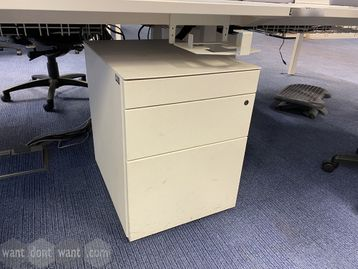 Used white under-desk 3 drawer mobile pedestals