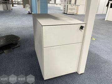 Used off-white slim under-desk mobile pedestals