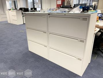 Used 'Maine' 3-drawer white side-filing units with opaque glass tops