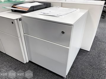 Used white under-desk 2-drawer pedestals