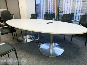 Used white elliptical meeting table in white mfc