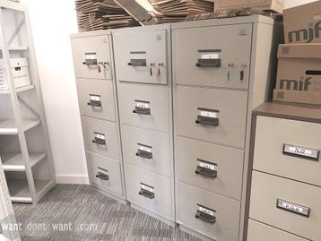 Used Chubb Fires Resistant 4-drawer filing units with 2 hour fire rating.