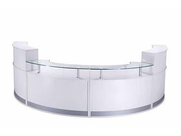 Modern brand new high gloss white reception desk.