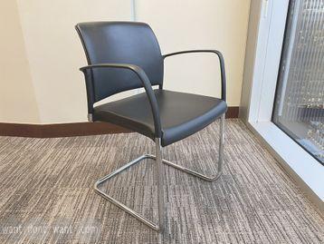 Used Boss 'Mars' meeting chairs upholstered in black hide