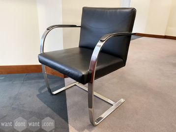 Used reproduction Brno chairs upholstered in high quality black hide