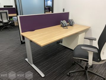 Good quality rectangular managers desk with purple screen
