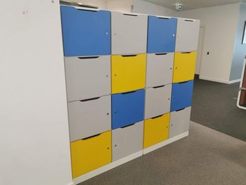 8-locker units with coloured doors