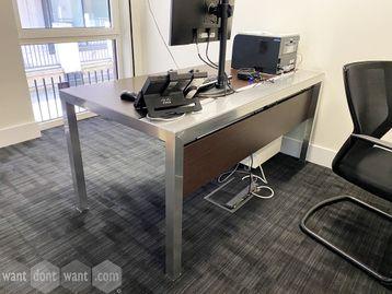 Superb used contemporary design desks in Wenge veneer with polished aluminium frame.