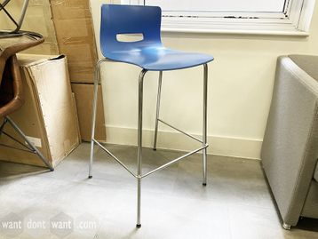 Used Allermuir café stools with blue seat and chrome frame.
