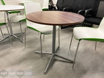 Used walnut mfc circular café/meeting tables with polished aluminium base.