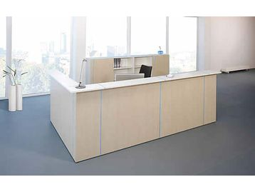 Contemporary reception desk with many configuration possibilities and a choice of top from white front panels with white, birch or walnut tops.