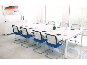 Modern bench-style adaptable conference table available in a range of sizes and finishes.