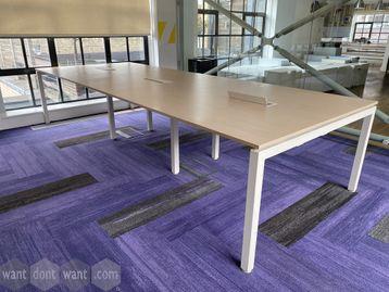 6 x Used 6-person light oak bench desks - 1200mm wide per desk position.