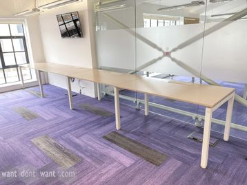 Used 4-person side-by-side bench desk. Each desk position 1400mm wide x 800mm deep