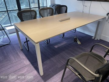 Rectangular meeting table 2200mm wide x 1140mm deep with oak MFC top.